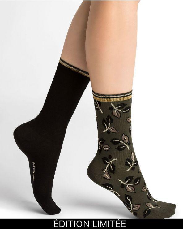 Duo of leaf pattern cotton socks