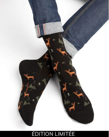Stag pattern cotton socks