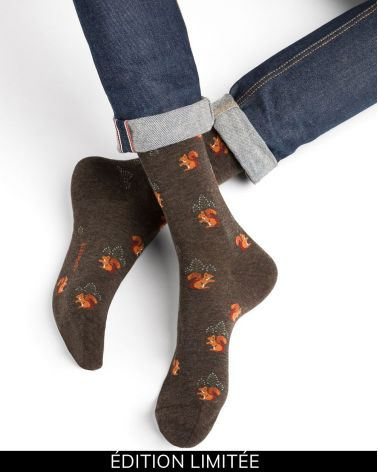 Squirrel pattern cotton socks