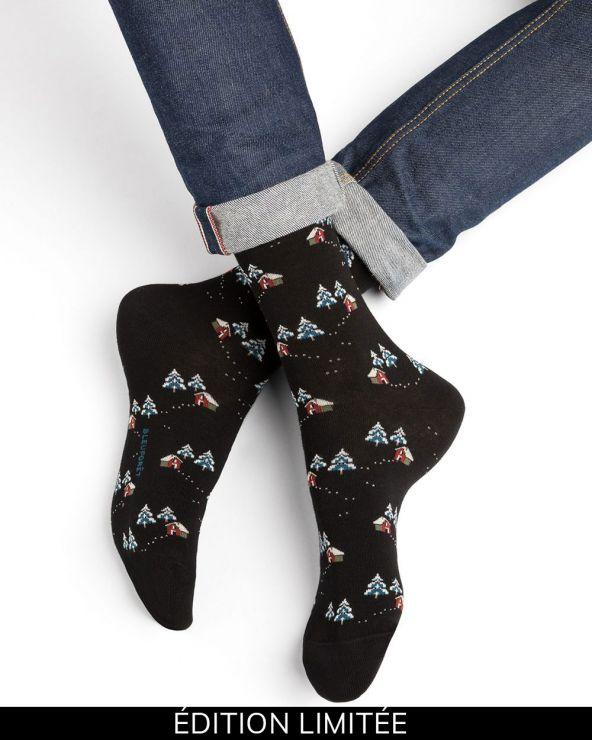 Cabin pattern cotton socks