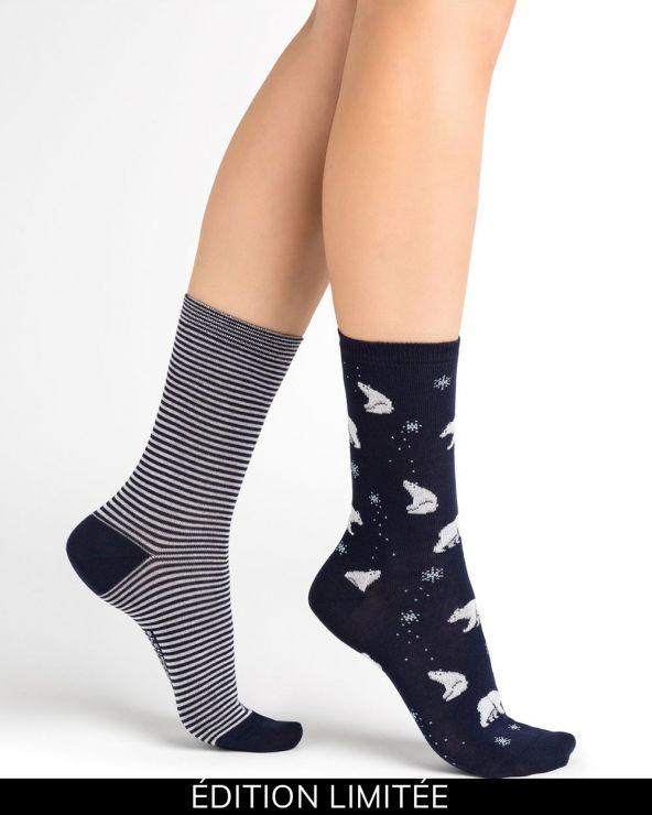 Duo of bear pattern cotton socks