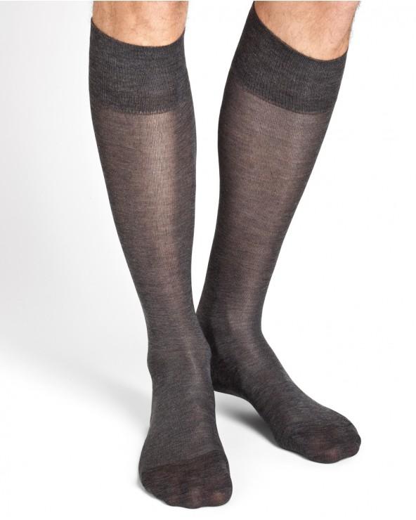 Chaussettes hautes soie et coton