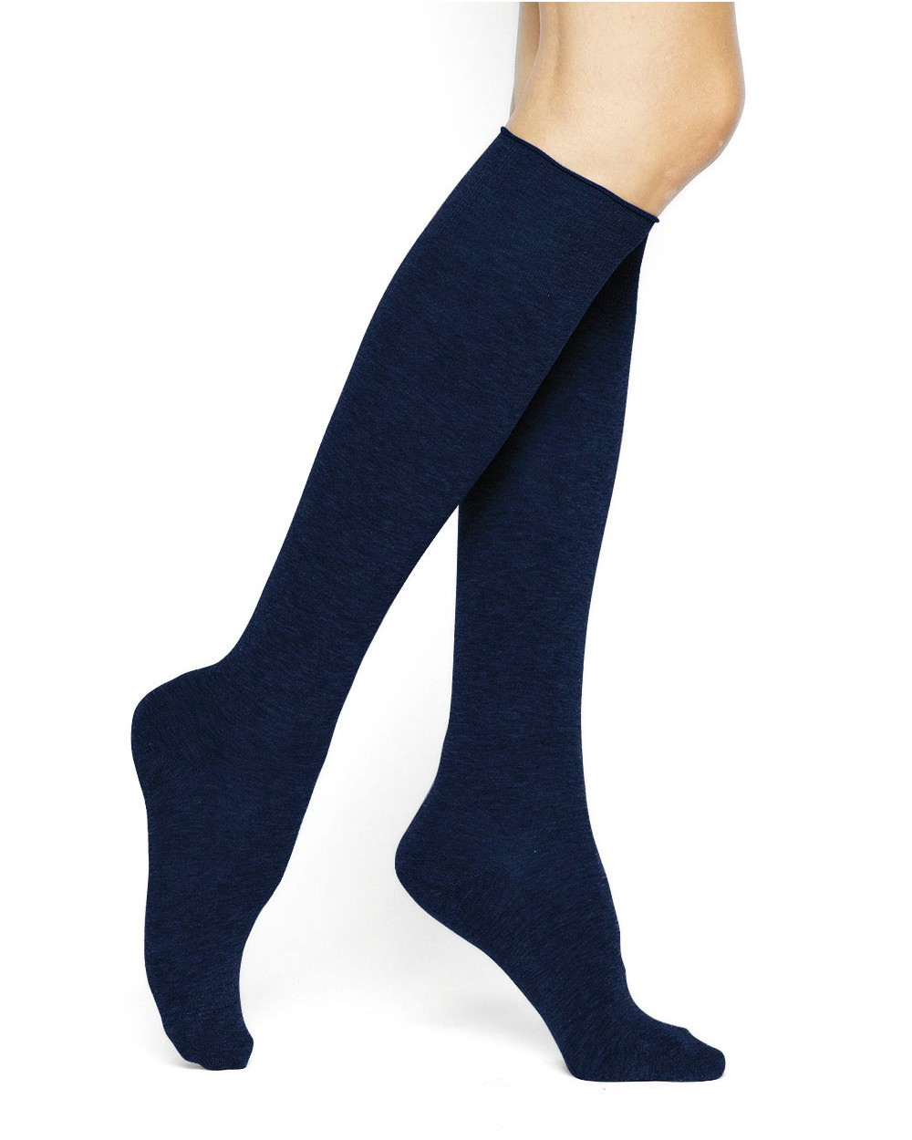 Plain pure cotton knee-high socks