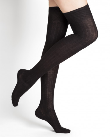Ribbed cotton over-the-knee socks
