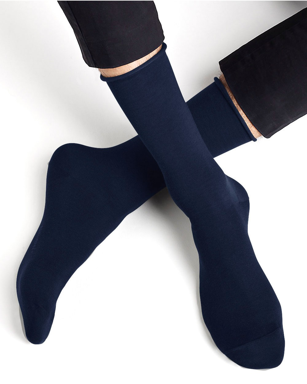 Egyptian cotton rolled edge socks
