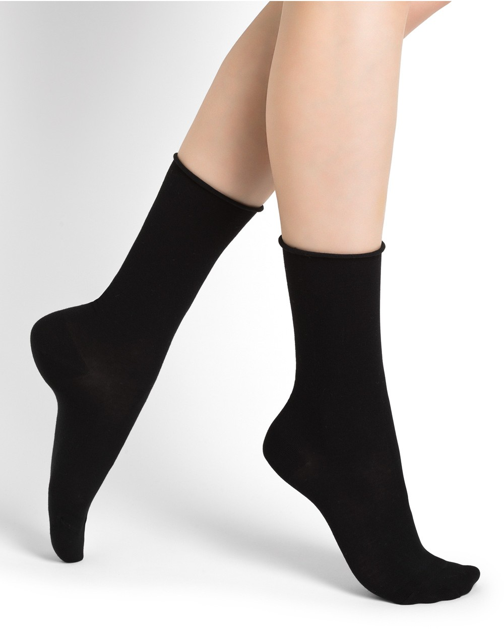 Roll-top pure cotton socks