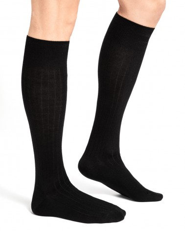 Wool over-the-calf socks with cotton inside