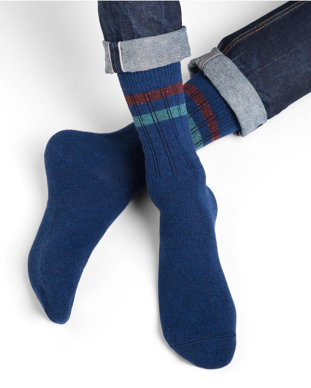 Chaussettes laine cachemire bandes à côtes