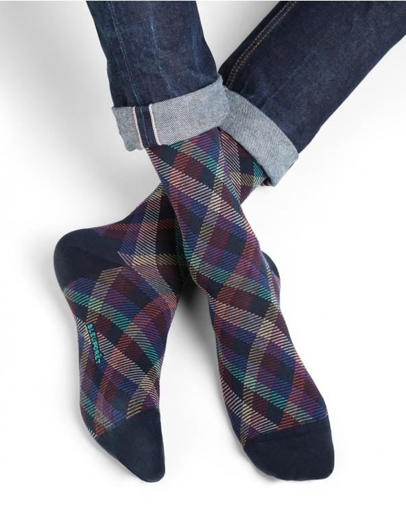 Chaussettes coton motifs losanges rayés