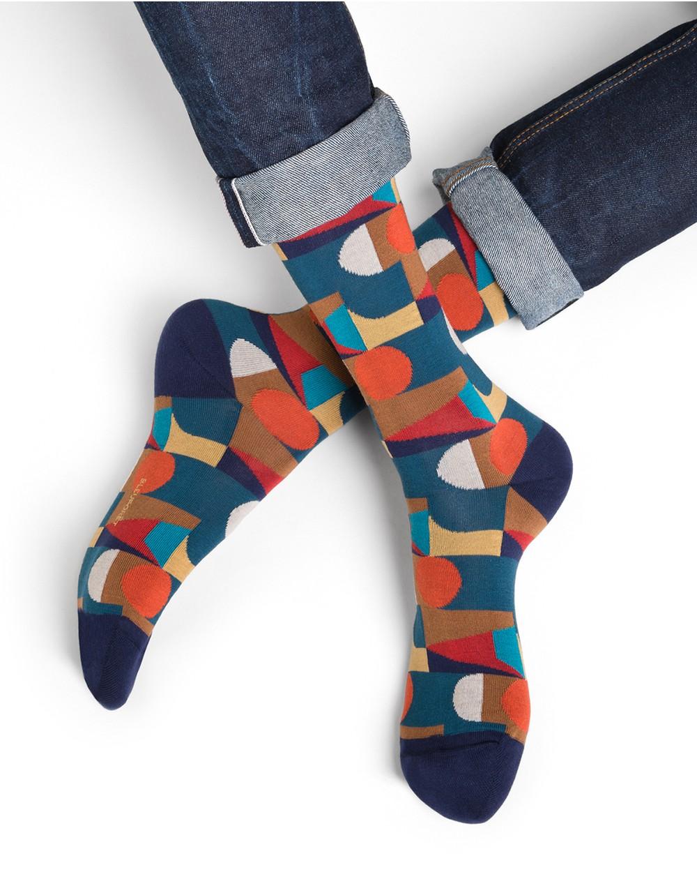 Chaussettes coton motif cubisme