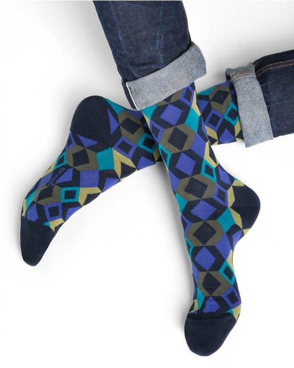 Chaussettes coton motifs losanges géométriques