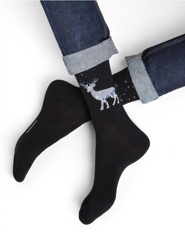 Chaussettes coton motif cerf