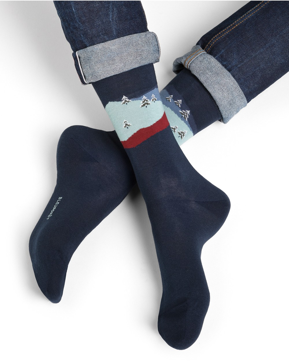 Chaussettes coton motif montagne