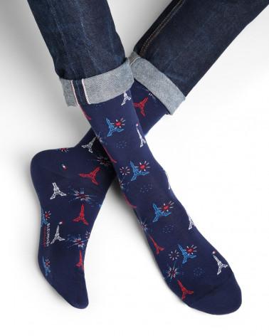 Chaussettes coton motifs tour eiffel