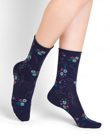 Chaussettes coton motif fleurs d'automne