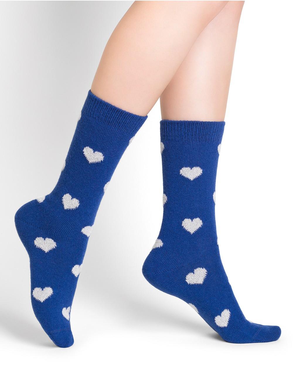 Chaussettes laine cachemire motifs cœurs