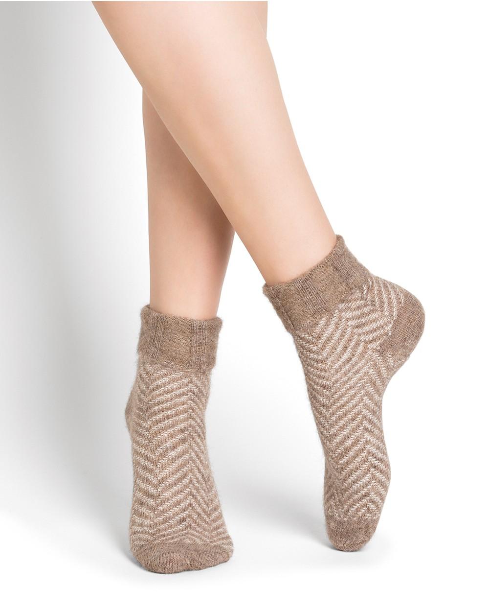 Chaussettes alpaga à revers motifs chevrons