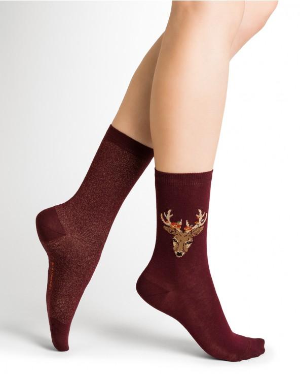 Chaussettes coton motif cerf et paillettes