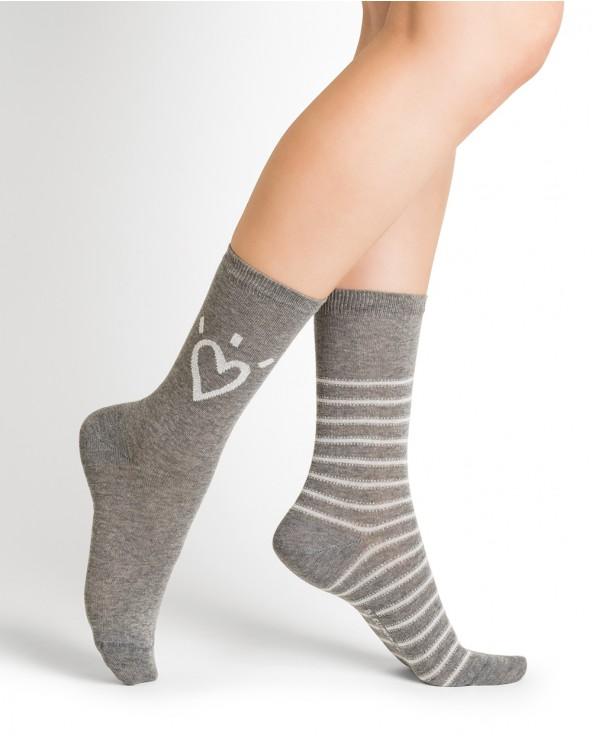 Chaussettes coton motifs cœur et rayures