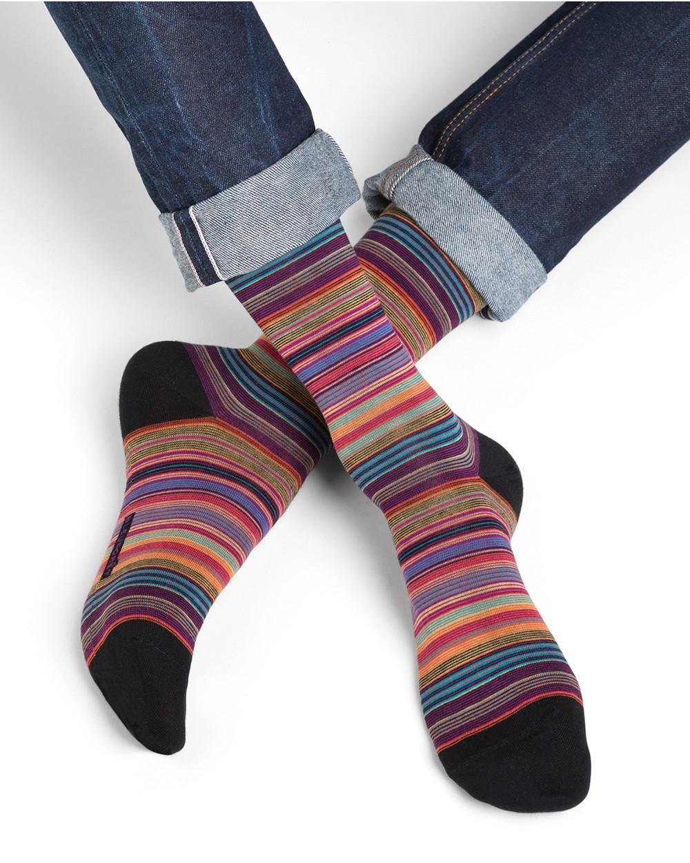 Narrow stripe cotton socks