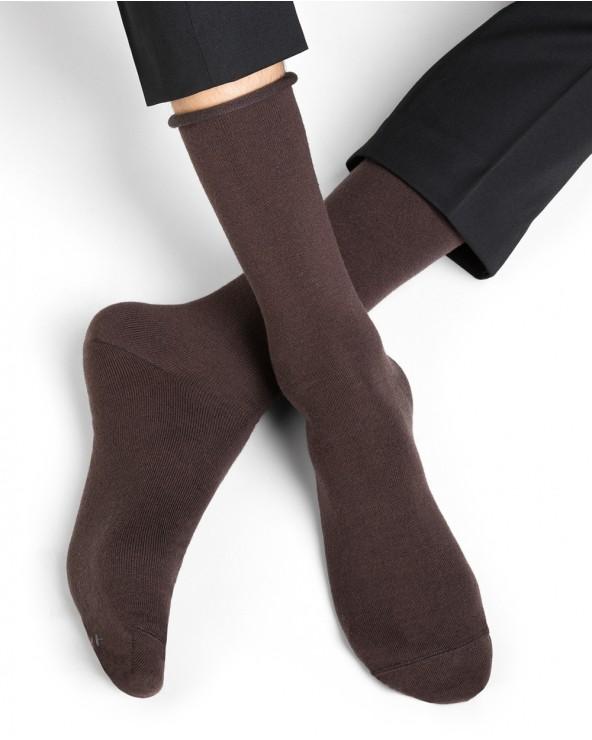 Chaussettes laine fine bord roulé