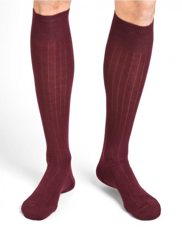 Chaussettes Hautes Laine Intérieur Coton à côtes