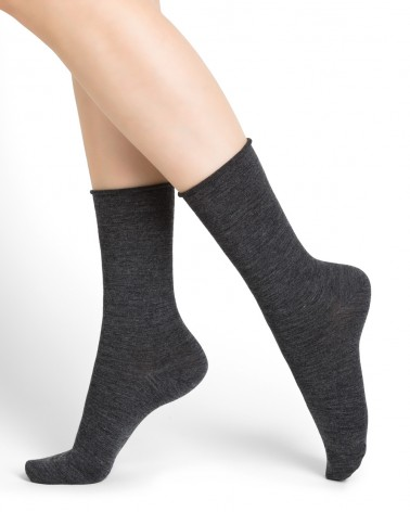 Roll top wool socks