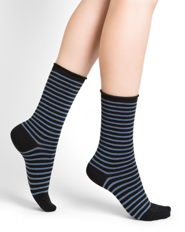 Thin, striped wool socks with rolled edge