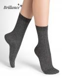 Chaussettes coton brillantes à côtes