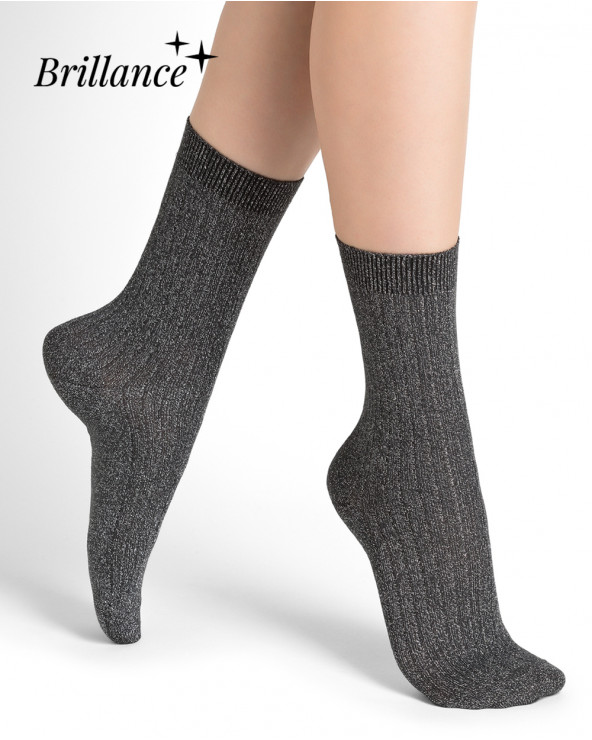 Glossy ribbed cotton socks