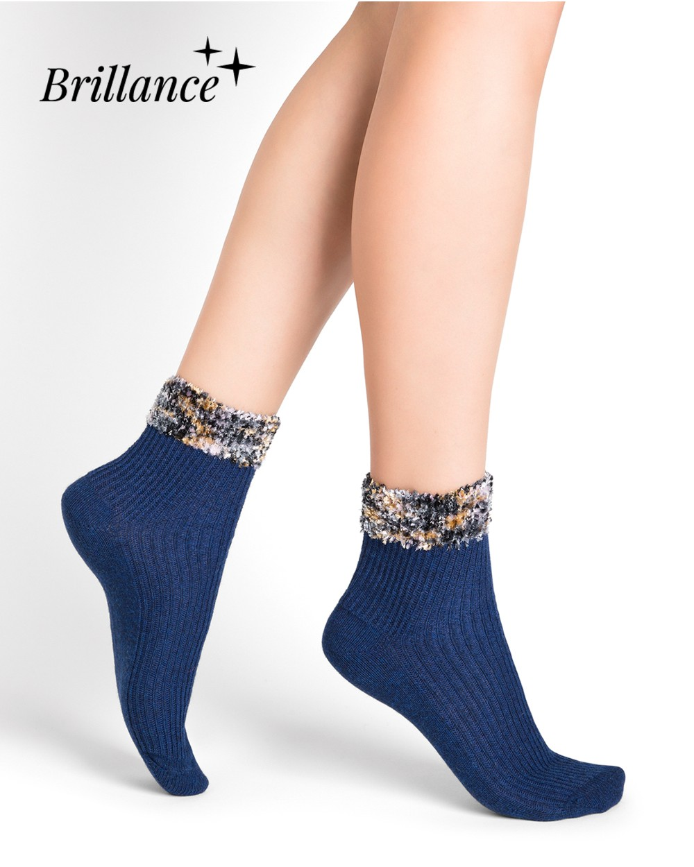 Wool and cashmere tinsel ankle socks