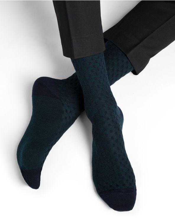 Chequerboard pattern merino wool socks