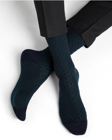 Chaussettes laine motif damier