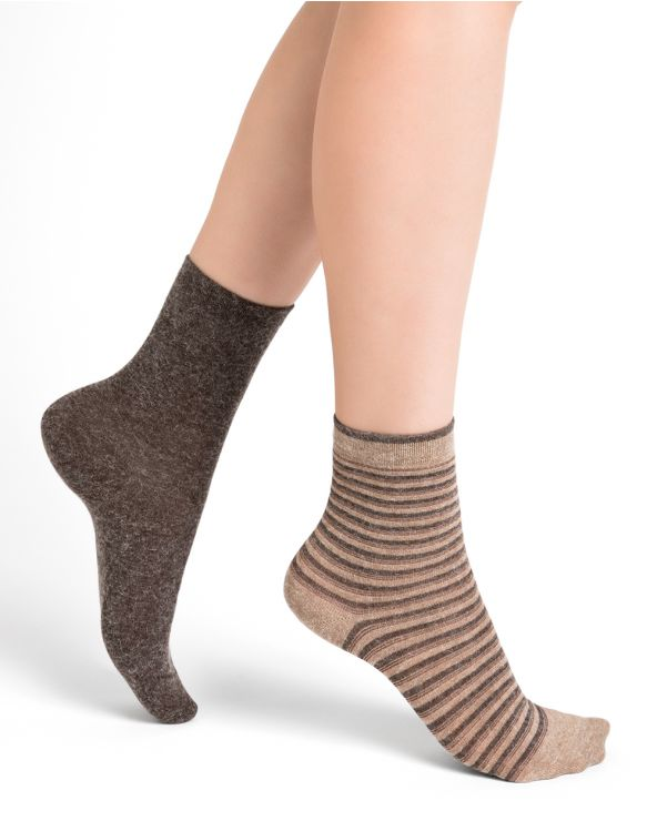 Angora socks with shiny stripes