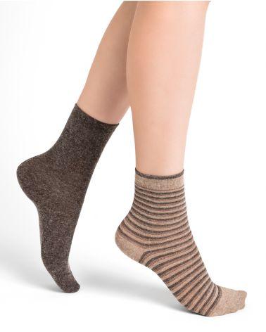 Angora socks with shiny stripes