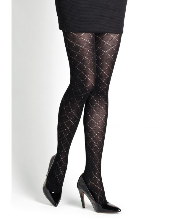 Openwork argyle pattern cotton tights