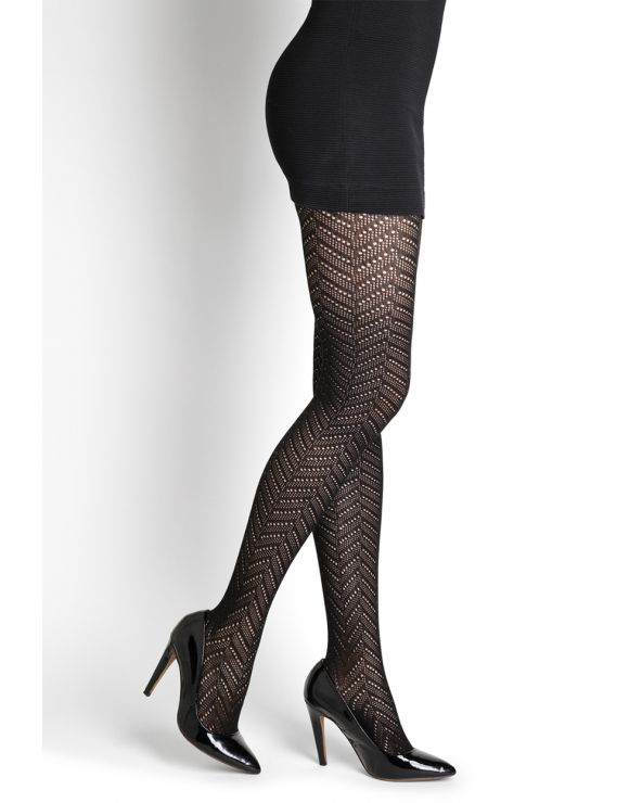 Herringbone lace cotton tights