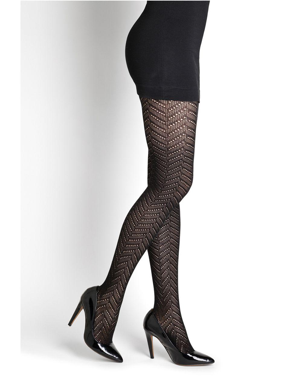Herringbone lace cotton tights