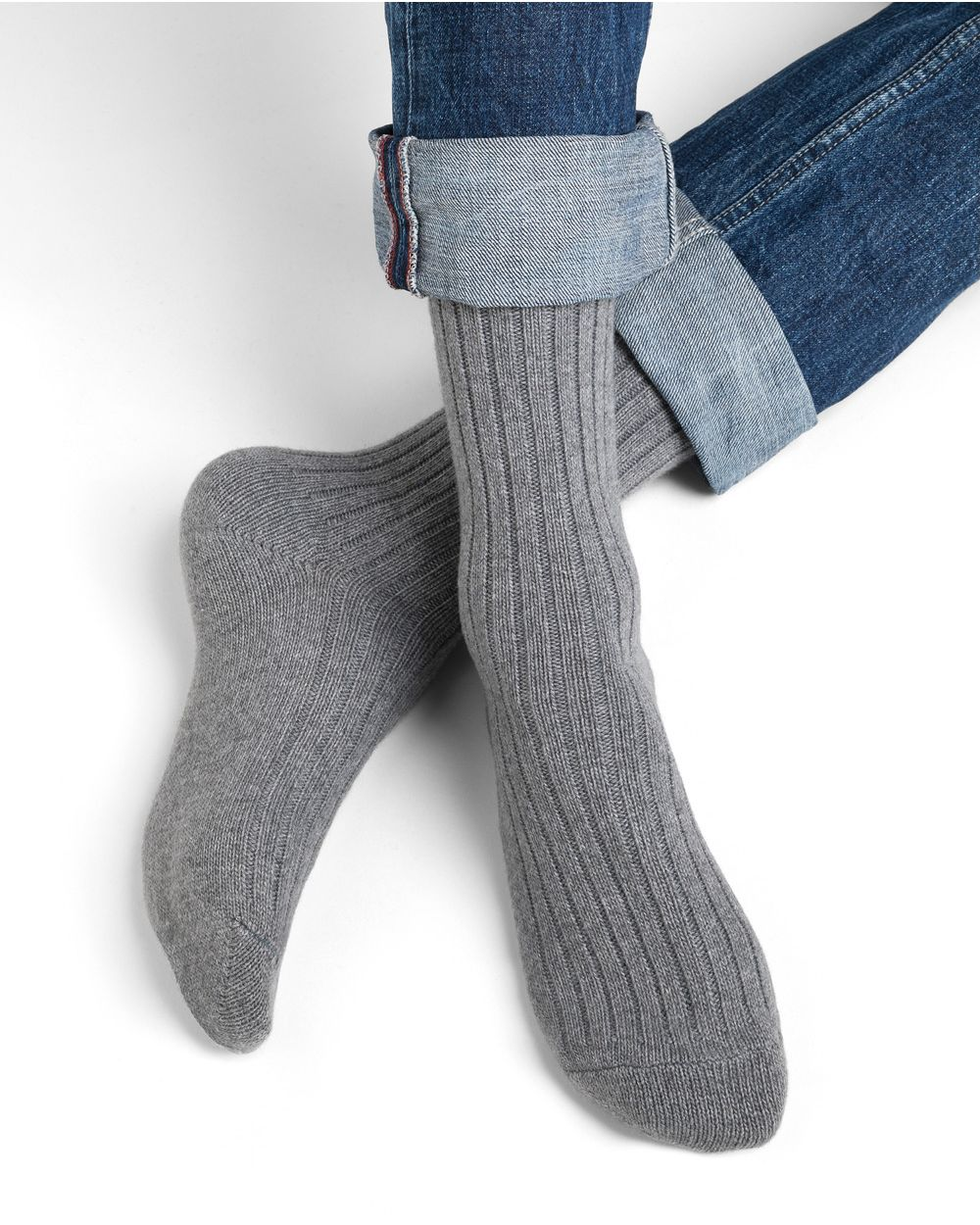 Cashmere ribbed socks