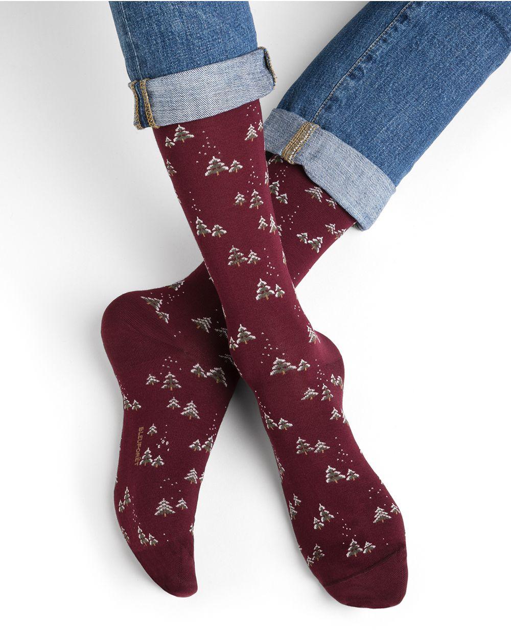 Chaussettes coton motifs sapins