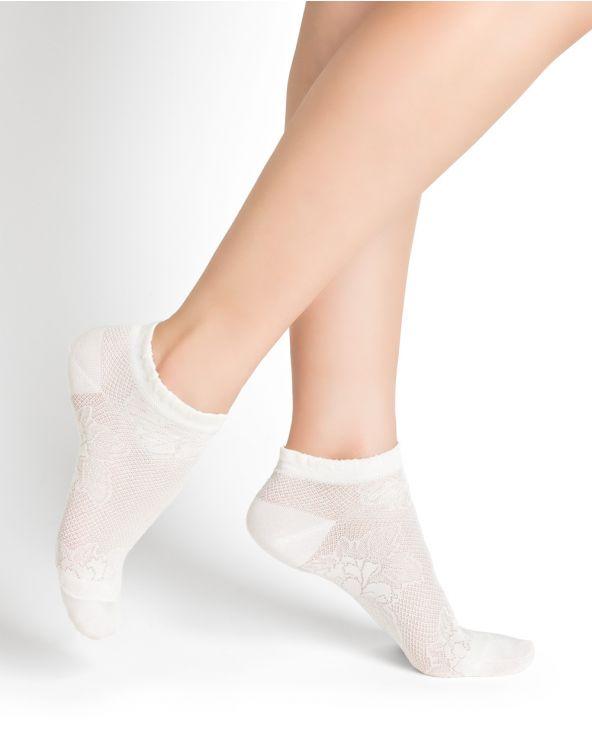 Peony pattern silk ankle socks
