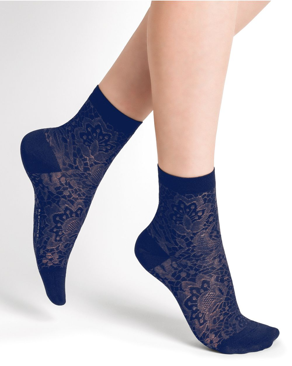 Floral pattern silk ankle socks