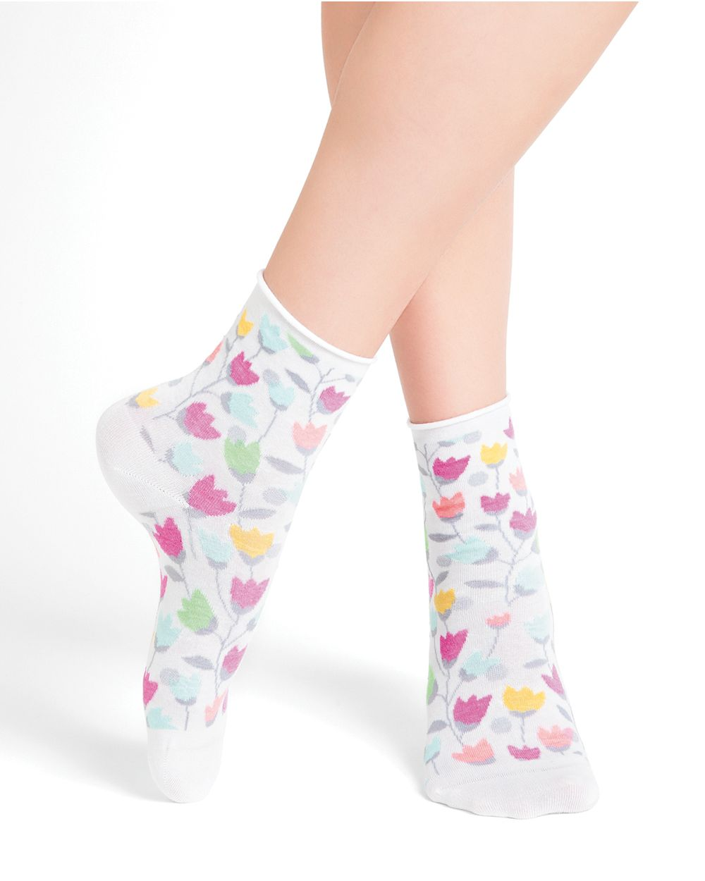 Chaussettes courtes coton motifs tulipes