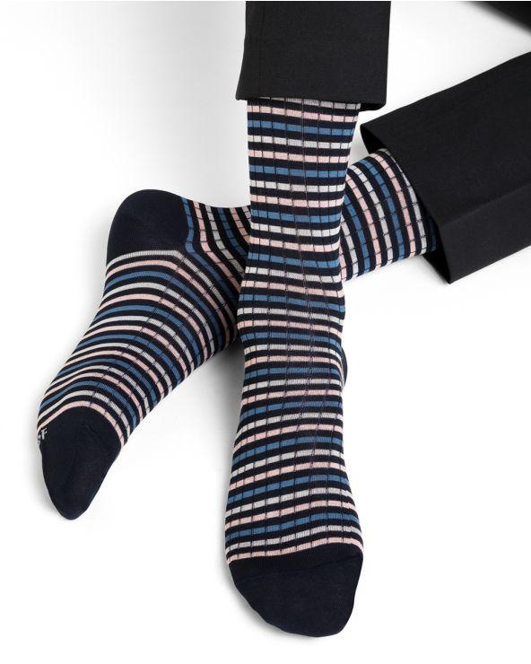 Chaussettes fil d'Écosse motif fines rayures