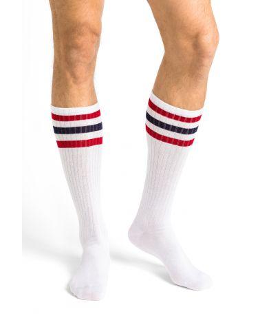 Chaussettes hautes coton à bandes