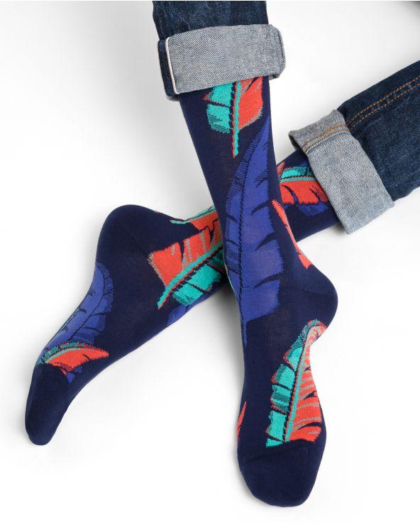 Chaussettes coton motif plumes