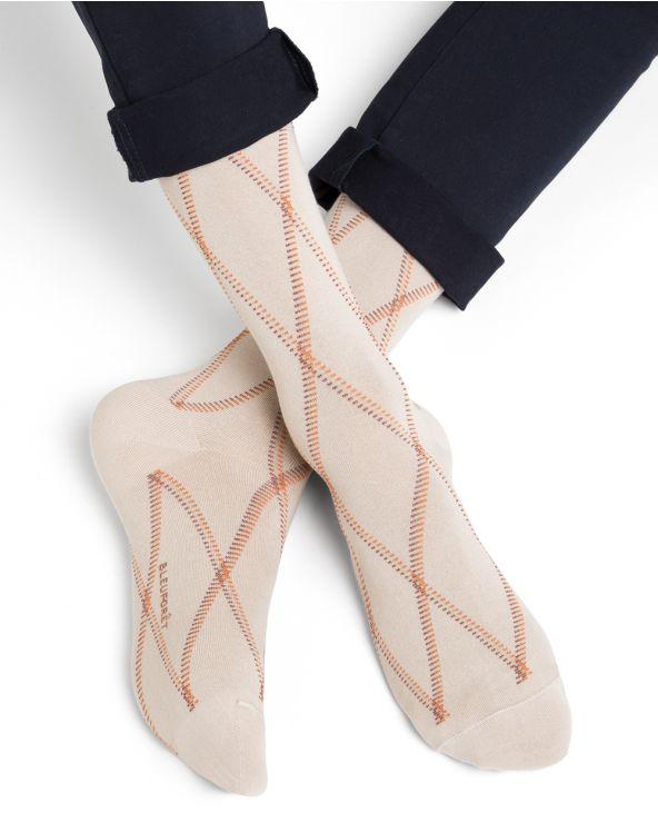 Chaussettes coton d'Égypte motif losanges