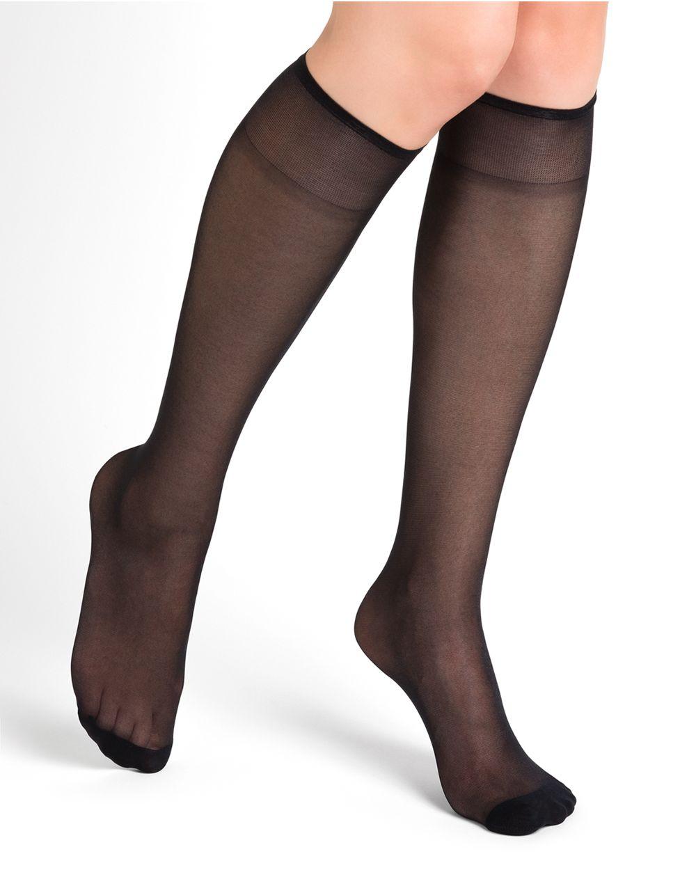 20D glossy transparent knee highs