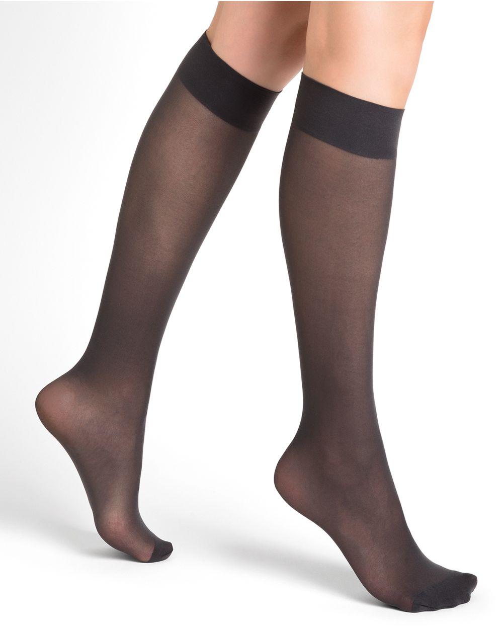 Velvety 30D semi-opaque knee highs
