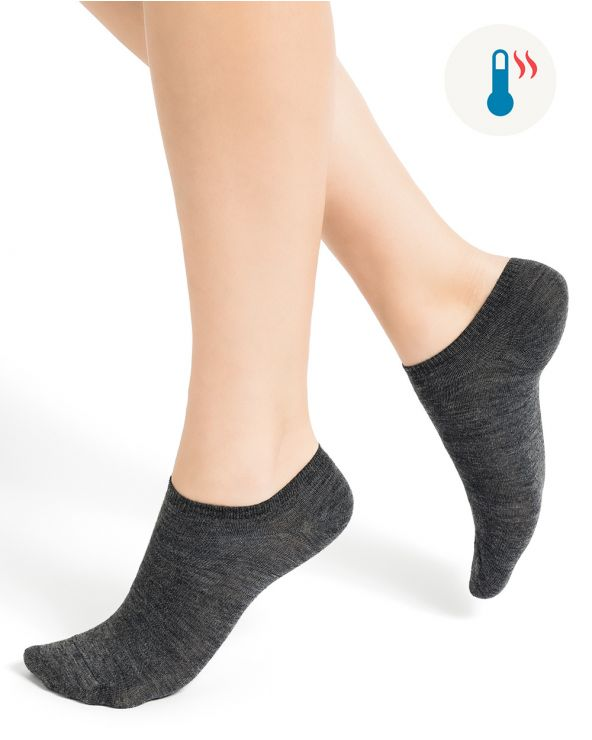 Thin plain wool trainer socks